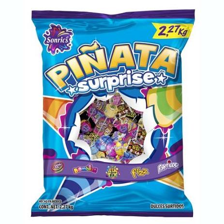 dulces surtidos para la piñata, piñata surprice de sonrics contenido 2.27 kg.